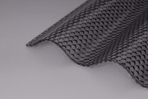 Lichtplatten Acrylglas Sinuswelle 76/18 Wabenstruktur graphit 3,0mm