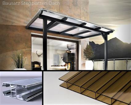 Bausatz 16mm Doppelstegplatte Acrylglas bronze inkl. Verlegesystem