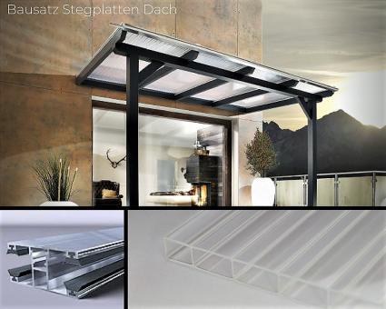 Bausatz 16mm Doppelstegplatte Acrylglas glasklar inkl. Verlegesystem