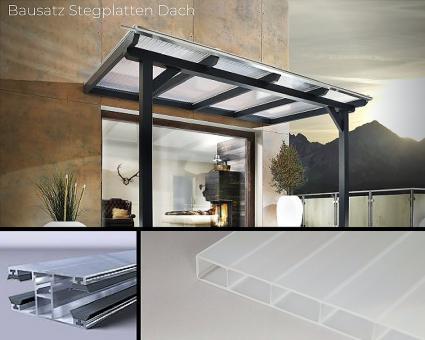 Bausatz 16mm Doppelstegplatte Acrylglas weiss-opal inkl. Verlegesystem