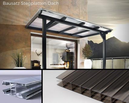 Bausatz 16mm Stegplatten Polycarbonat Stegdreifach bronze  inkl. Verlegesystem