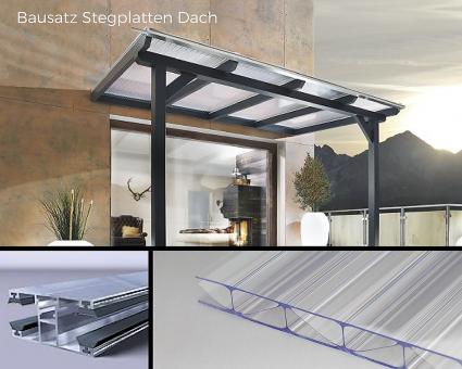 Bausatz 16mm Stegplatten Polycarbonat HAGELSICHER glashell  inkl. Verlegesystem