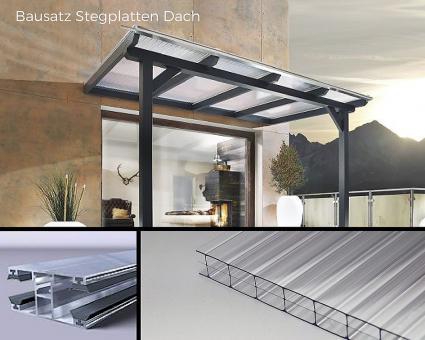 Bausatz 16mm Stegplatten Polycarbonat glashell 3-fach inkl. Verlegesystem