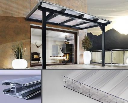 Bausatz 16mm Stegplatten Polycarbonat glashell X-Struktur  inkl. Verlegesystem